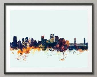 Sacramento Skyline, Sacramento California Cityscape Art Print (2114)
