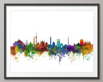 Delhi Skyline, New Delhi India Cityscape, Art Print (2140)