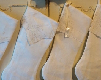 White or cream linen Christmas stockings, vintage handkerchiefs, Personalized