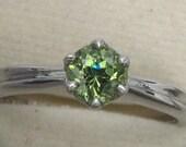 Ring Silver 925 Natural Demantoid Green Garnet Unheated Round Wedding