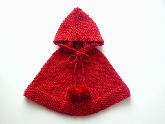 Baby Girl Poncho / Red Cape / Toddler Knit Sweater / Knit Hoodie With Pom Pom...
