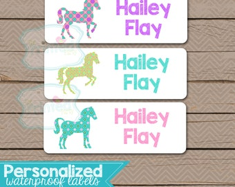 Personalized Waterproof Label Stickers  HORSES - Perfect for Bottles, Sippy Cups, Daycare, School - Dishwasher Safe - patterned horses