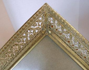 8x10 Shabby Ornate Gold Metal Picture Frame Easel Back - Eloise