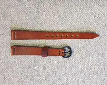Handmade Genuine Leather Tapered Watch Strap for Casio LA670W Hand Stitched Band with Vintage finished Brass Hardware