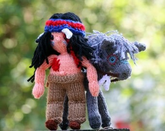 Little Knit Indian Boy Doll - DOLL ONLY - Amigurumi Knitted Toy - Native American Indian