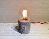 Sale - Concrete Table Lamp, Sale 2 last ones , 1 red / 1 ivory colour  cloth wire