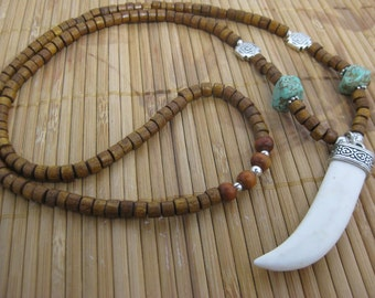 Kingman and white turquoise horn necklace with heishi wood beads and sterling silver -- Boho Chic