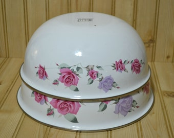 Vintage GMI Enamel Bowls White with Rose Design Nesting Porcelain on Steel Bowl Set of 2