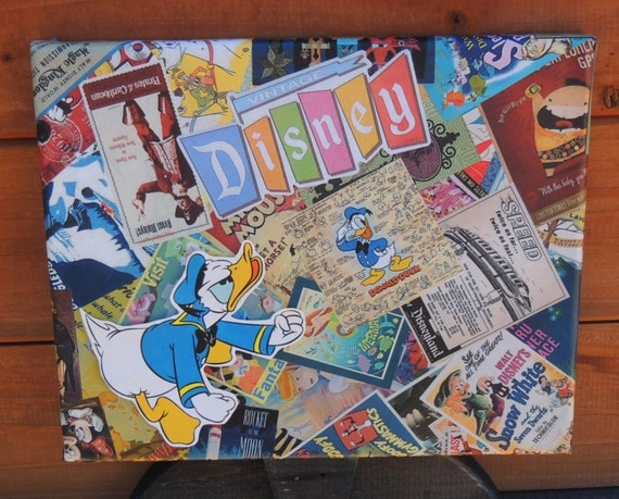 "FREE SHIPPING - Vintage Disney Decoupaged 8""x10"" Canvas Art - Donald Duck"