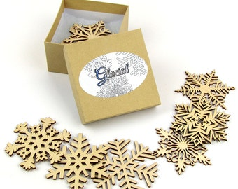 Glacial Collection of 8 Wooden Laser-Cut Holiday Snowflake Ornaments in Gift Box