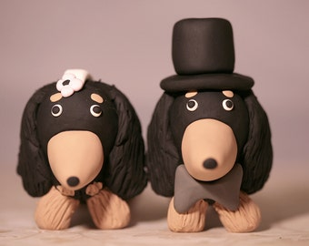 Long Haired Dachshund Wiener Dog Wedding Cake Topper