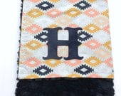 Aztec Blanket, Agave Field Blanket, Monogrammed Baby Blanket, Aztec Baby Blanket, Art Gallery Fabrics, Arizona Collection