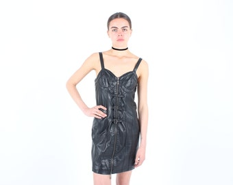 90s PVC Leather Buckle Bustier Mini Bodycon Party Dress