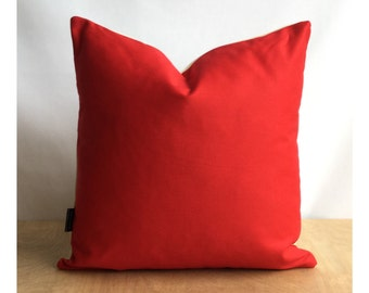 Red Cotton Fabric Lined Cushion Cover 16 x 16 Throw Pillow Cover