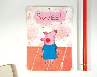 Postcard 'Sweet' - Greeting Card - Stationery - Birthday Card Little Pig - Rounded Corners