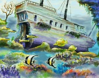 Ship Wreck - tropical fish, print of my original painting,