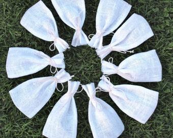 "Natural White Linen Favor Bags 3 1/2""x6"" Set of 10"