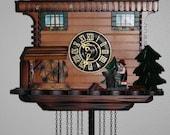 CUCKOO CLOCK Chalet Pendulum Quartz With Violin Angel Dancers, Cuckoo Bird, Music, Waterwheel, Woodcutter - Perfect Working Condition
