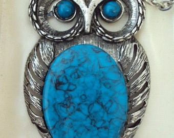 Giant Owl Necklace Silver with Faux Turquoise