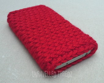 Red Phone Sock Cozy- Iphone, Galaxy, HTC, Crochet Phone Pouch