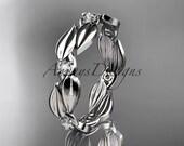 14k white gold diamond leaf and vine wedding ring,engagement band ADLR58B