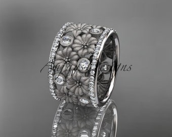 Platinum diamond flower wedding ring, engagement ring ADLR232B