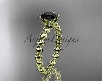 14k yellow gold diamond vine and leaf wedding ring, engagement ring with Black Diamond center stone ADLR34