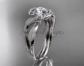 "14kt white gold diamond leaf and vine wedding ring, engagement ring with ""Forever One"" Moissanite center stone ADLR65"