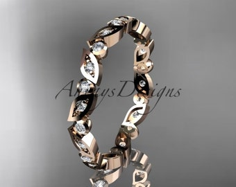 14k rose gold diamond leaf and vine wedding band,engagement ring ADLR13B