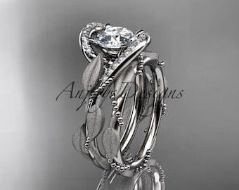 14kt white gold diamond leaf and vine wedding ring, engagement set ADLR64S