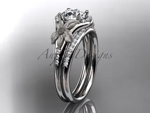 14kt white gold diamond leaf and vine wedding ring, engagement set ADLR91S