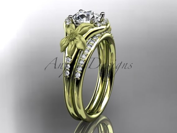 14kt  yellow gold diamond leaf and vine wedding ring,engagement ring ADLR91S nature inspired jewelry