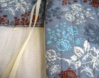 Quilted Circular Straight Knitting Needles Organizer Roll Set, Flowers on Blue Needle Roll Set