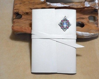 Journal Handmade White Leather with Rhinestones-SALE