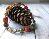 Stretch Bracelet Abalone Shell Mother of Pearl Multi Beads Coral Unique Boho Fashion Jewelry Beach Ethnic