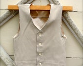 BOYS VEST-Oatmeal, Oatmeal color Boys vintage style Vest, Boys ring bearer vest (sz. available 1-10 year old)