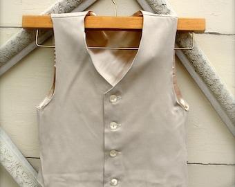 BOYS VEST-Oatmeal, Oatmeal color Boys vintage style Vest, Boys ring bearer vest (sz. available 1-10 year old)