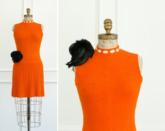 Vintage St. John Knits Orange Sweater Dress