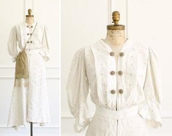 Antique Edwardian Ecru Linen Eyelet Duster Coat / Dress & Linen Crochet Bag