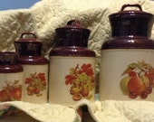 McCoy Canister SET of FOUR with lids Graduated Heights Kitchen Pantry Storage Autumn Decor  Brown McCOY with Fruit Designs  Storage Sealed