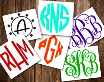 "3"" wide ea. Set of 6 Monogram Vinyl Decal / Cell Phone Decal / Tablet Decal / Girly Decal / Teen Decal / Girls Decal / Monogram Sticker"