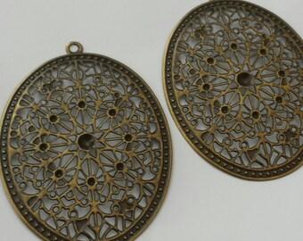 SALE - 20pc-  Antique bronze - Oval  Filigree Pendant , Teardrop filigree , oval drop, link and more...