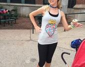Heart shirt tendy Sacred Heart Silkscreen on Racerback Tank Tops