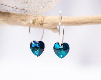 Blue Swarovski Heart Earrings, Crystal, Silver Hoop, Jewelry for Her, Gifts for Women