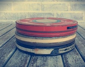 Set of Vintage Film Reels and Original Metal Cases.  Rusted, Chipped Paint, Industrial Home Decor