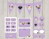 Dog Theme Birthday Party Decor Set - Purple - Printable
