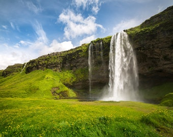CANVAS Photograph of Waterfall in Iceland Fine Art Photography Color