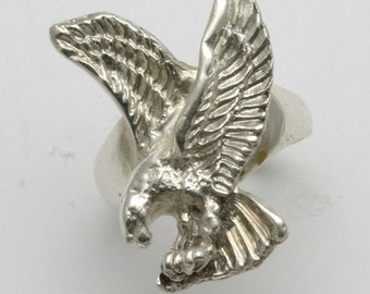 Vintage 925 Sterling Silver Eagle Men's ring Large Solid Estate