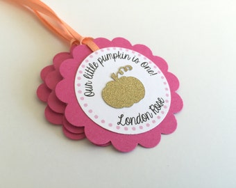 20 Little Pumpkin Themed Personalized Tags.  Hot Pink, Coral and Gold Favor Tags. You Choose Your Colors! Gold Pumpkin. Fall Birthday Party