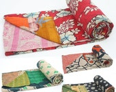 5 Vintage Kantha Quilt Plaids Gudri Reversible Throw Ralli Bedspread Bedding India Wholesale